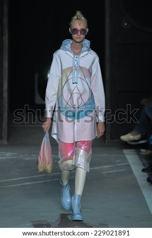 NEW YORK, NY - SEPTEMBER 09: Model Charlotte Lindvig walks the runway at the Marc By Marc Jacobs fashion show during Mercedes-Benz Fashion Week Spring 2015 at Pier 94 on September 9, 2014 in NYC. - stock photo