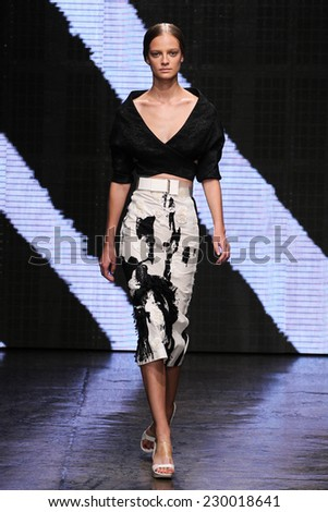 NEW YORK, NY - SEPTEMBER 08: Model Ine Neefs walk the runway at Donna Karan New York during MBFW Spring 2015 at 547 West 26th Street on September 8, 2014 in NYC - stock photo