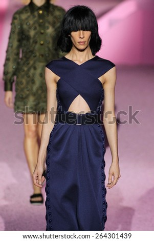 NEW YORK, NY - SEPTEMBER 11: Model Jamie Bochert walk the runway at Marc Jacobs during Mercedes-Benz Fashion Week Spring 2015 at Seventh Regiment Armory on September 11, 2014 in NYC. - stock photo