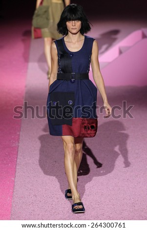 NEW YORK, NY - SEPTEMBER 11: Model Jessica Stam walk the runway at Marc Jacobs during Mercedes-Benz Fashion Week Spring 2015 at Seventh Regiment Armory on September 11, 2014 in NYC. - stock photo