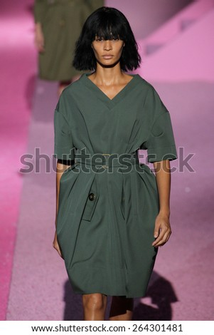 NEW YORK, NY - SEPTEMBER 11: Model Joan Smalls walk the runway at Marc Jacobs during Mercedes-Benz Fashion Week Spring 2015 at Seventh Regiment Armory on September 11, 2014 in NYC. - stock photo