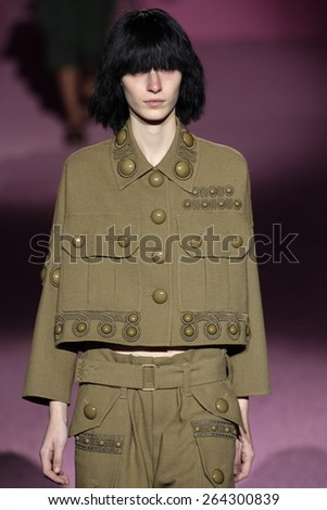 NEW YORK, NY - SEPTEMBER 11: Model Julia Nobis walk the runway at Marc Jacobs during Mercedes-Benz Fashion Week Spring 2015 at Seventh Regiment Armory on September 11, 2014 in NYC. - stock photo