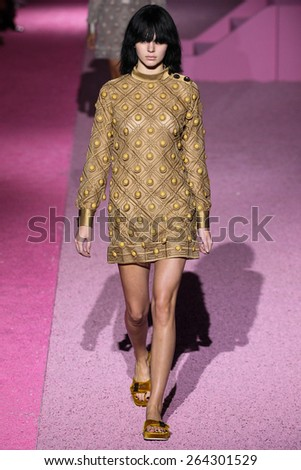 NEW YORK, NY - SEPTEMBER 11: Model Kendall Jenner walk the runway at Marc Jacobs during Mercedes-Benz Fashion Week Spring 2015 at Seventh Regiment Armory on September 11, 2014 in NYC. - stock photo