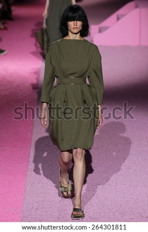 NEW YORK, NY - SEPTEMBER 11: Model Saskia de Brauw walk the runway at Marc Jacobs during Mercedes-Benz Fashion Week Spring 2015 at Seventh Regiment Armory on September 11, 2014 in NYC. - stock photo