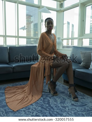 New York, NY - September 17, 2015: Model shows off dress for dexterdexterdexter by Dexter Cheston during New York Fashion week Spring/Summer 2016 at London Hotel