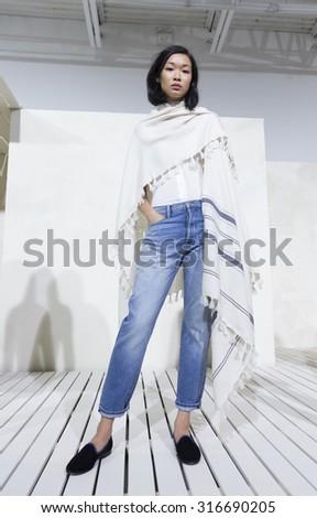 New York, NY - September 12, 2015: Model shows off dress for Frame Denim by Jens Grede & Erik Torstensson at Swiss Institute in Manhattan - stock photo