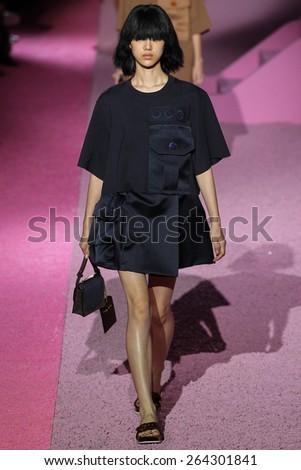 NEW YORK, NY - SEPTEMBER 11: Model So Ra Choi walk the runway at Marc Jacobs during Mercedes-Benz Fashion Week Spring 2015 at Seventh Regiment Armory on September 11, 2014 in NYC. - stock photo