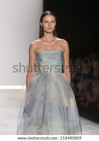 New York, NY - September 5, 2014: Model walks runway for Monique Lhuillier collection at Spring/Summer 2015 Fashion week in Lincoln Center