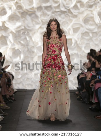 New York, NY - September 9, 2014: Model walks runway for Naeem Khan collection at Spring/Summer 2015 Fashion week in Lincoln Center - stock photo