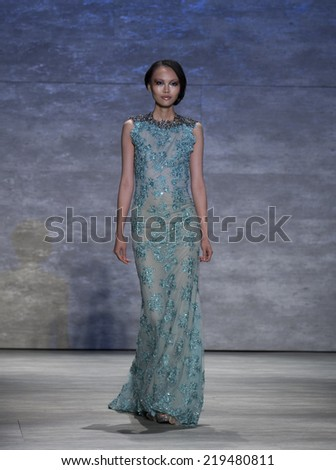 New York, NY - September 6, 2014: Model walks runway for Venexiana collection by Kati Stern at Spring/Summer 2015 Fashion week in Lincoln Center - stock photo