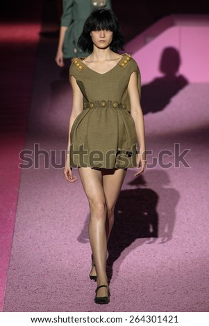 NEW YORK, NY - SEPTEMBER 11: Model Yumi Lambert walk the runway at Marc Jacobs during Mercedes-Benz Fashion Week Spring 2015 at Seventh Regiment Armory on September 11, 2014 in NYC. - stock photo