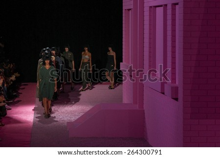NEW YORK, NY - SEPTEMBER 11: Models walk the runway at Marc Jacobs during Mercedes-Benz Fashion Week Spring 2015 at Seventh Regiment Armory on September 11, 2014 in NYC. - stock photo