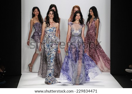 NEW YORK, NY - SEPTEMBER 09: Models walk the runway at the Badgley Mischka fashion show during MBFW Spring 2015 at Lincoln Center on September 9, 2014 in NYC - stock photo