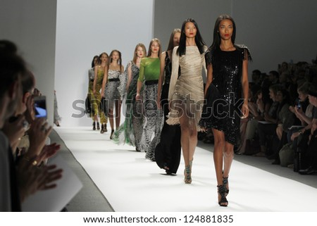 NEW YORK, NY - SEPTEMBER 10: Models walk the runway at the Carlos Miele  Spring Summer 2013 fashion show during Mercedes-Benz Fashion Week on September 10, 2012 in New York City, USA - stock photo