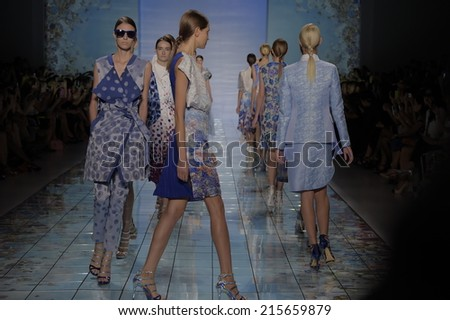 NEW YORK, NY - SEPTEMBER 06: Models walk the runway at the LIE SANGBONG Spring-Summer 2015 Collection during Mercedes-Benz Fashion Week Spring 2015 on September 6, 2014 in New York City. - stock photo