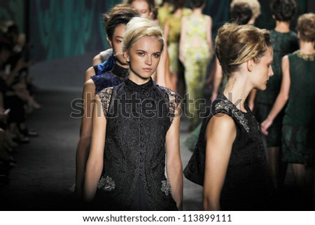 NEW YORK, NY - SEPTEMBER 11: Models walk the runway at the Vera Wang Spring Summer 2013 fashion show during Mercedes-Benz Fashion Week in Lincoln Center on September 11, 2012 in New York City, USA
