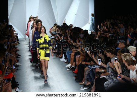NEW YORK, NY - SEPTEMBER 06: Models walk the runway finale at Lacoste during Mercedes-Benz Fashion Week Spring 2015  on September 6, 2014 in New York City. - stock photo
