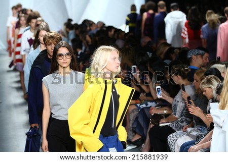 NEW YORK, NY - SEPTEMBER 06: Models walk the runway finale at Lacoste during Mercedes-Benz Fashion Week Spring 2015  on September 6, 2014 in New York City.