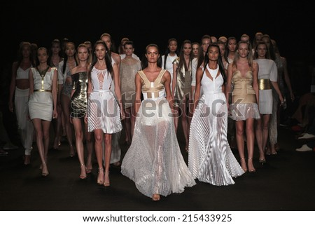 NEW YORK, NY - SEPTEMBER 04: Models walk the runway finale at the Meskita fashion show during Mercedes-Benz Fashion Week Spring 2015 on September 4, 2014 in New York City.  - stock photo