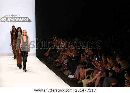 NEW YORK, NY - SEPTEMBER 05: Models walk the runway finale at the Project Runway (Amanda Valentine) show during MBFW Spring 2015 at Lincoln Center on September 5, 2014 in NYC - stock photo