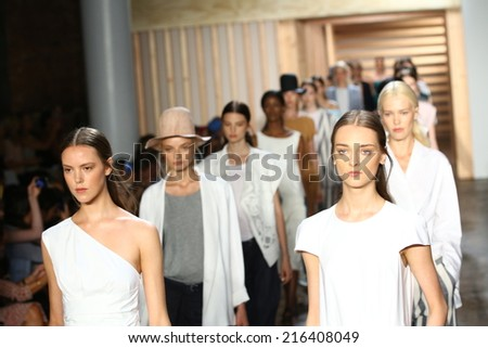 NEW YORK, NY - SEPTEMBER 06: Models walk the runway finale at the Tibi fashion show during Mercedes-Benz Fashion Week Spring 2015 on September 6, 2014 in New York City.  - stock photo