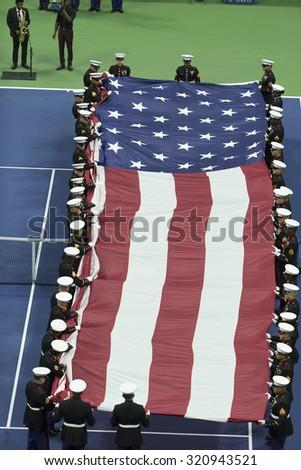 New York, NY - September 13, 2015: Opening ceremony of final of US Open Championship between ROger Federer of Switzerland & Novak Djokovic of Serbia at Ash stadium - stock photo