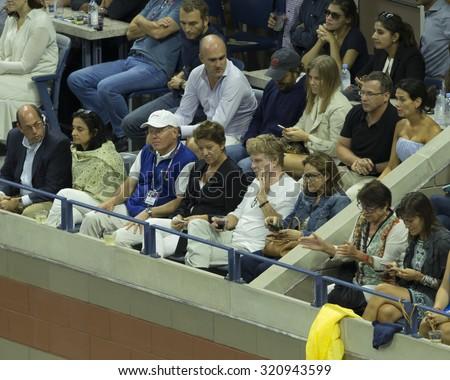 New York, NY - September 13, 2015: Robert Redford attends final of US Open Championship between Novak Djokovic of Serbia & Roger Federer of Switzerland during at Ash stadium - stock photo