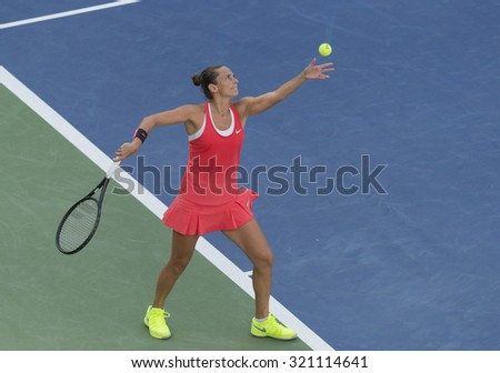 New York, NY - September 11, 2015: Roberta Vinci serves during semifinal against Serena Williams of USA at US Open Championship on Ash stadium