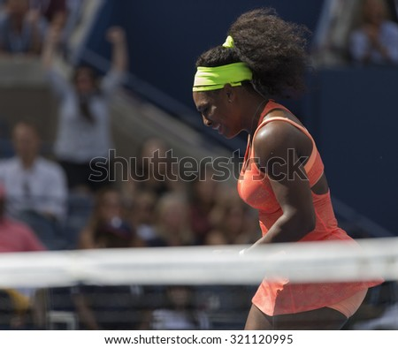 New York, NY - September 11, 2015: Serena Williams of USA reacts during semifinal against Roberta Vinci of Italy at US Open Championship on Ash stadium