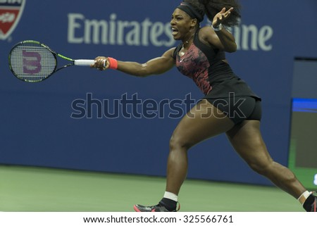 New York, NY - September 4, 2015: Serena Williams of USA returns ball during 3rd round match against Bethanie Mattek-Sands of USA at US Open Championship - stock photo
