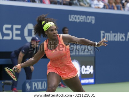 New York, NY - September 11, 2015: Serena Williams of USA returns ball during semifinal against Roberta Vinci of Italy at US Open Championship on Ash stadium - stock photo