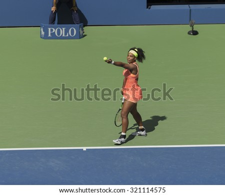 New York, NY - September 11, 2015: Serena Williams of USA serves during semifinal against Roberta Vinci of Italy at US Open Championship on Ash stadium