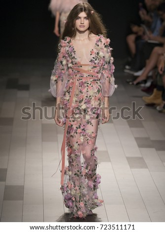 NEW YORK, NY - September 13, 2017: Skylar Tartz walks the runway at the Marchesa Spring Summer 2018 fashion show during New York Fashion Week
