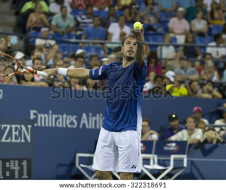 New York, NY - September 9, 2015: Stan Wawrinka of Switzerland serves during quarterfinal against Kevin Anderson of South Africa at US Open Championship