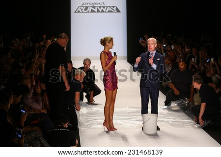 NEW YORK, NY - SEPTEMBER 05: Tim Gunn's version of the ALS Ice Bucket Challenge at Project Runway during MBFW Spring 2015 at Lincoln Center on September 5, 2014 in NYC - stock photo