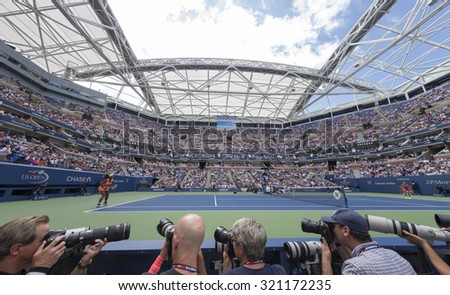 New York, NY - September 11, 2015: View from photographers pit during semifinal between Serena Williams of USA & Roberta Vinci of Italy at US Open Championship on Ash stadium - stock photo