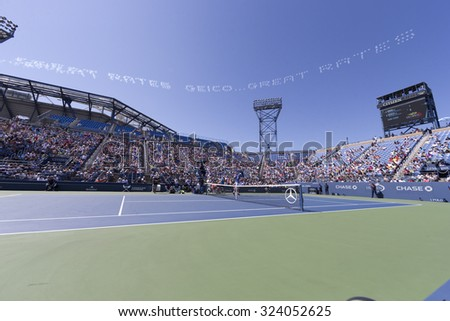 New York, NY - September 5, 2015: View of Louis Armstrong stadium with air advertisement by GEICO at US Open Championship