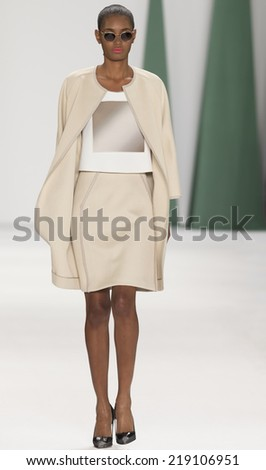 NEW YORK, NY - SEPTEMBER 08, 2014: Ysaunny Brito walks the runway at the Carolina Herrera fashion show during Mercedes-Benz Fashion Week Spring 2015 at The Theatre at Lincoln Center