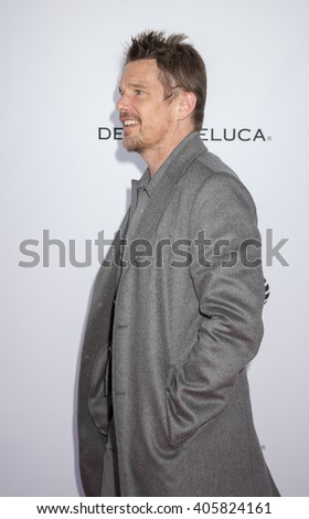 New York, NY, USA - April 14, 2016: Actor Ethan Hawke attends Tribeca Talks Storytellers: Patti Smith With Ethan Hawke during 2016 Tribeca Film Festival at SVA Theatre, Manhattan - stock photo