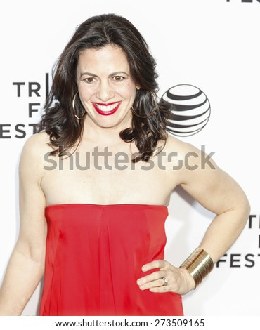 New York, NY, USA - April 15, 2015: Actress Jacqueline Mazarella attends the world premiere of 'Live From New York' during the 2015 Tribeca Film Festival at The Beacon Theatre, Manhattan - stock photo