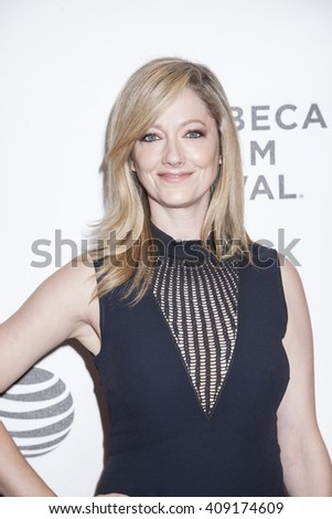 New York, NY, USA - April 18, 2016: Actress Judy Greer attends the 'Elvis & Nixon' premiere during the 2016 Tribeca Film Festival at the John Zuccotti Theater at BMCC Tribeca Performing Arts Center - stock photo