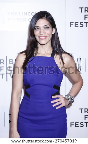 New York, NY, USA - April 17, 2015: Actress Laura Gomez attends the premiere of 'The Wannabe' during the 2015 Tribeca Film Festival at BMCC Tribeca PAC, Manhattan - stock photo