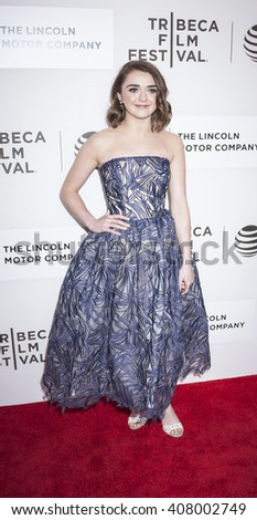 New York, NY, USA - April 14, 2016: Actress Maisie Williams attends 'The Devil And The Deep Blue Sea' premiere during the 2016 Tribeca Film Festivalat at the John Zuccotti Theater at BMCC Tribeca PAC - stock photo