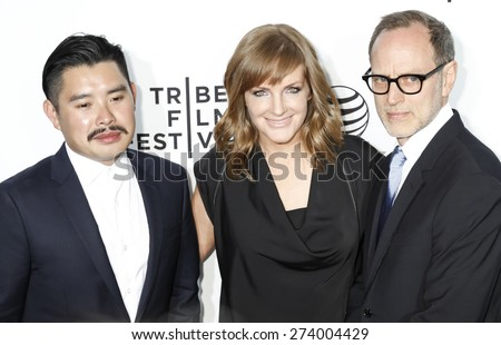 New York, NY, USA - April 15, 2015: Bao Nguyen, JL Pomeroy and Tom Broecker attend the world premiere of Live From New York during the 2015 Tribeca Film Festival at The Beacon Theatre, Manhattan - stock photo