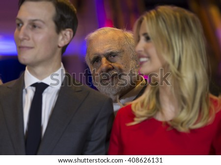 New York, NY USA - April 19, 2016: Carl Icahn behind Jared Kushner and Ivanka Trump attends Donald Trump victory celebration at Trump Tower on 5th Avenue