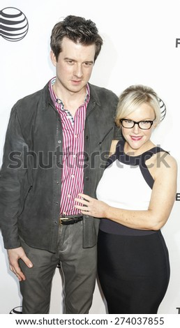 New York, NY, USA - April 15, 2015: Christian Hebel (L) and Rachael Harris attends the world premiere of 'Live From New York' during the 2015 Tribeca Film Festival at The Beacon Theatre, Manhattan - stock photo