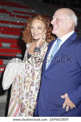 New York, NY, USA - April 14, 2015: Designer Diane von Furstenberg and Barry Diller  attend the Vanity Fair Party during the 2015 Tribeca Film Festival at the New York State Supreme Court Building - stock photo
