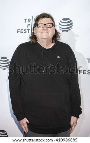 New York, NY, USA - April 21, 2016: Filmmaker Michael Moore attends the 'Taxi Driver' 40th Anniversary Celebration during the 2016 Tribeca Film Festival at The Beacon Theatre, NYC - stock photo