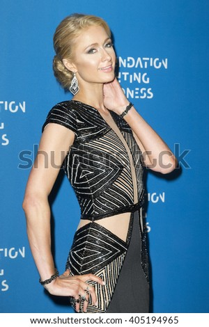 New York, NY USA - April12, 2016: Paris Hilton attends Foundation Fighting Blindness Gala at Cipriani 25 Broadway - stock photo