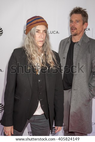 New York, NY, USA - April 14, 2016: Singer/songwriter Patti Smith and Ethan Hawke attend Tribeca Talks Storytellers: Patti Smith With Ethan Hawke - 2016 Tribeca Film Festival at SVA Theatre, Manhattan - stock photo